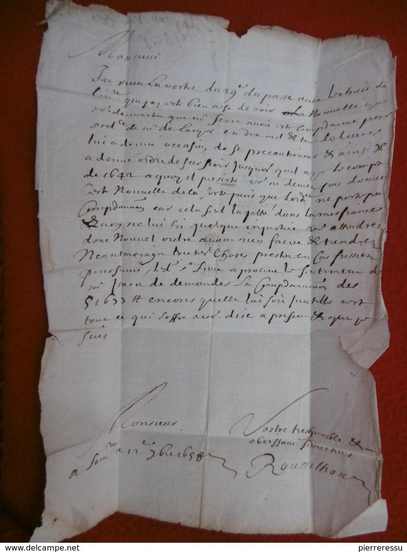 LAS FRANC MANUSCRIT 1658 DE SOMMIERES A CASTRES SIGNE ROUSSILHON - Marcophilie (Lettres)
