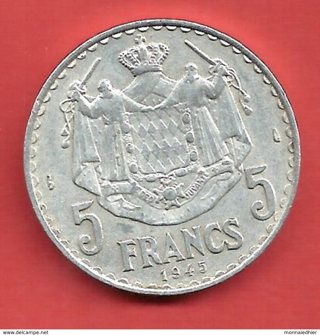 5 Francs , MONACO , Louis II , 1945 , Aluminium , N° Gadoury: 135 - Monaco
