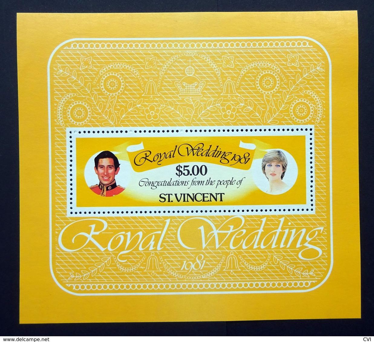 St Vincent 1981 Mi.BL 14 $5.00 Royal Wedding Charles & Diana Minisheet Mint Never Hinged. - St.Vincent (1979-...)
