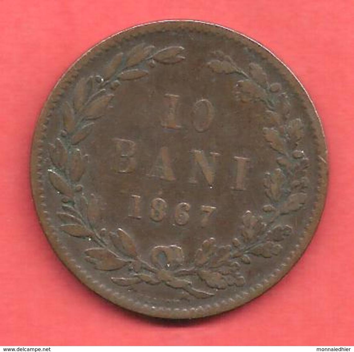 10 Bani , ROUMANIE , Cuivre , 1867 HEATON , N° KM # 4 - Roumanie