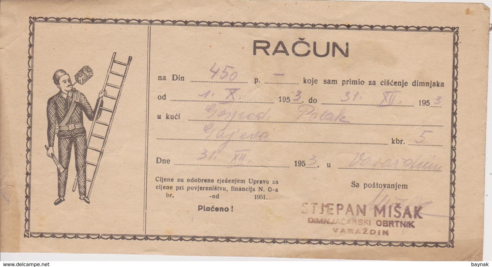 CROATIA  --  VARAZDIN  --  FACTURE, INVOICE,  RACUN  ~  1953  --  STJEPAN MISAK  --  DIMNJACAR, MONEUR, CHIMNEY SWEEP - Facturas & Documentos Mercantiles