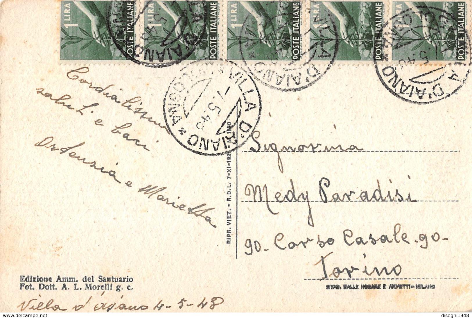 """07617 """"SANTUARIO DEI SS PELLEGRINO E BIANCO (INTERNO) - CASTIGLIONE DI GARFAGNANA (LU)"""" CART. ORIG. SPED. '48 - Italia"""