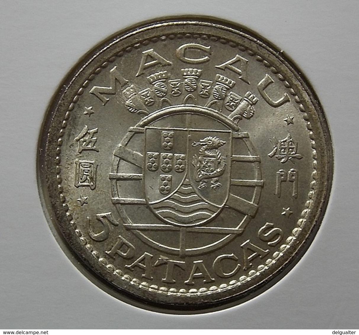 Portugal Macau 5 Patacas 1952 Silver - Portugal