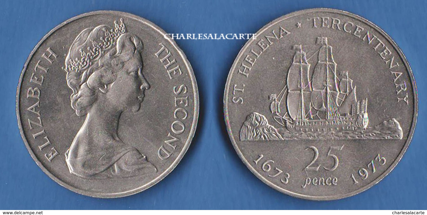 1973  SAINT HELENA  25p.  300TH. ANNIVERSARY OF COLONY EAST INDIA CO. SAILING SHIP VERY FINE-SUPERB - Sainte-Hélène
