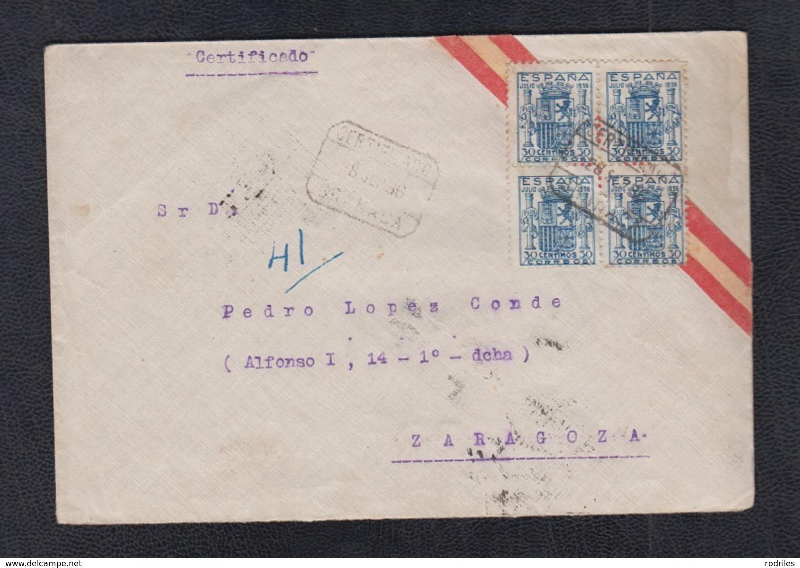 1936.-  GRANADA A ZARAGOZA.       EDIFIL 801 EN BLOQUE DE CUATRO. - 1931-Hoy: 2ª República - ... Juan Carlos I