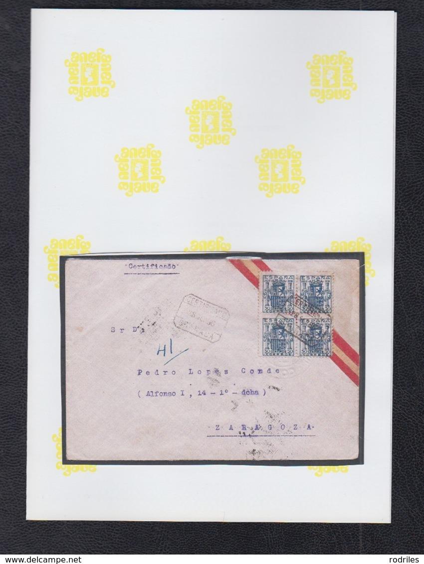 1936.-  GRANADA A ZARAGOZA.       EDIFIL 801 EN BLOQUE DE CUATRO. - 1931-50 Cartas