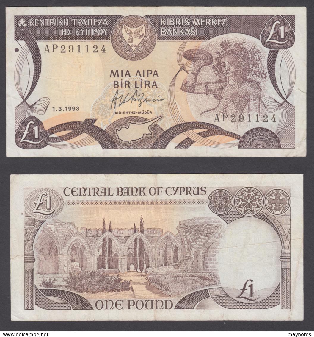 Cyprus 1 Pound 1993 (F) Condition Pre-Euro Banknote P-53c - Cyprus