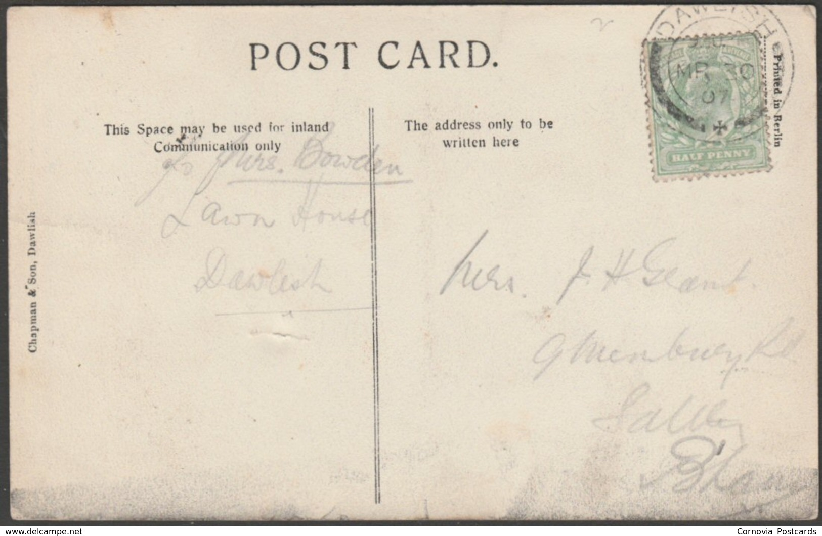 Dawlish From Lea Mount, Devon, 1907 - Chapman Postcard - Other