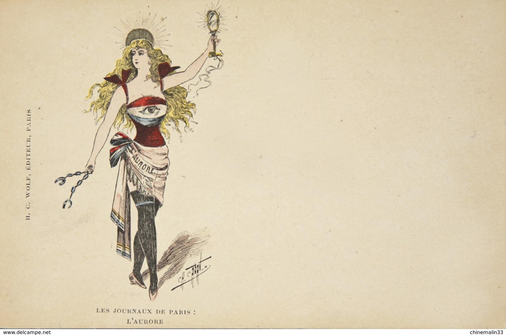 SÉRIE ALLÉGORIES FÉMININES REPRÉSENTANT LE JOURNAL L'AURORE ILL CH.CARANT - Illustrators & Photographers