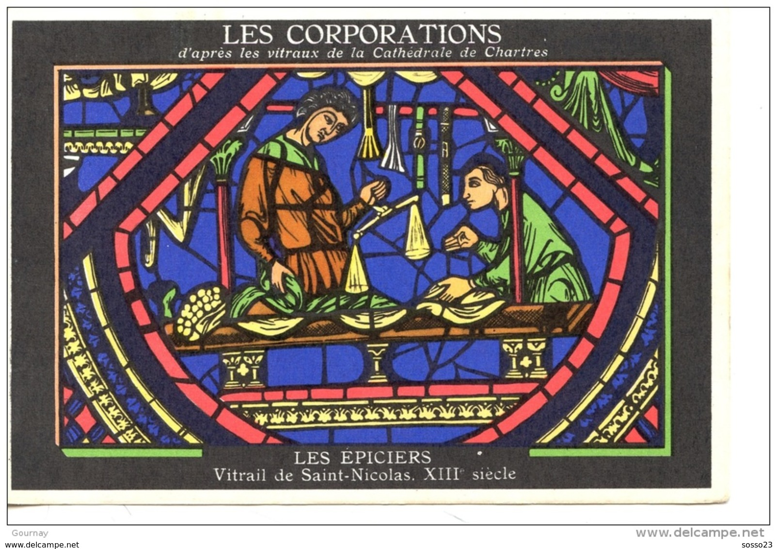 METIERS - LES CORPORATIONS LES EPICIERS - VITRAIL DE ST NICOLAS - CHROMO PUB ASPIRINE/ - Unclassified