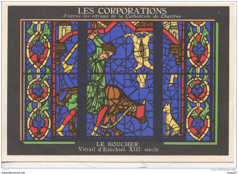 METIERS - LES CORPORATIONS LE BOUCHER - VITRAIL D'EZECHIEL  - CHROMO PUB ASPIRINE/ - Unclassified