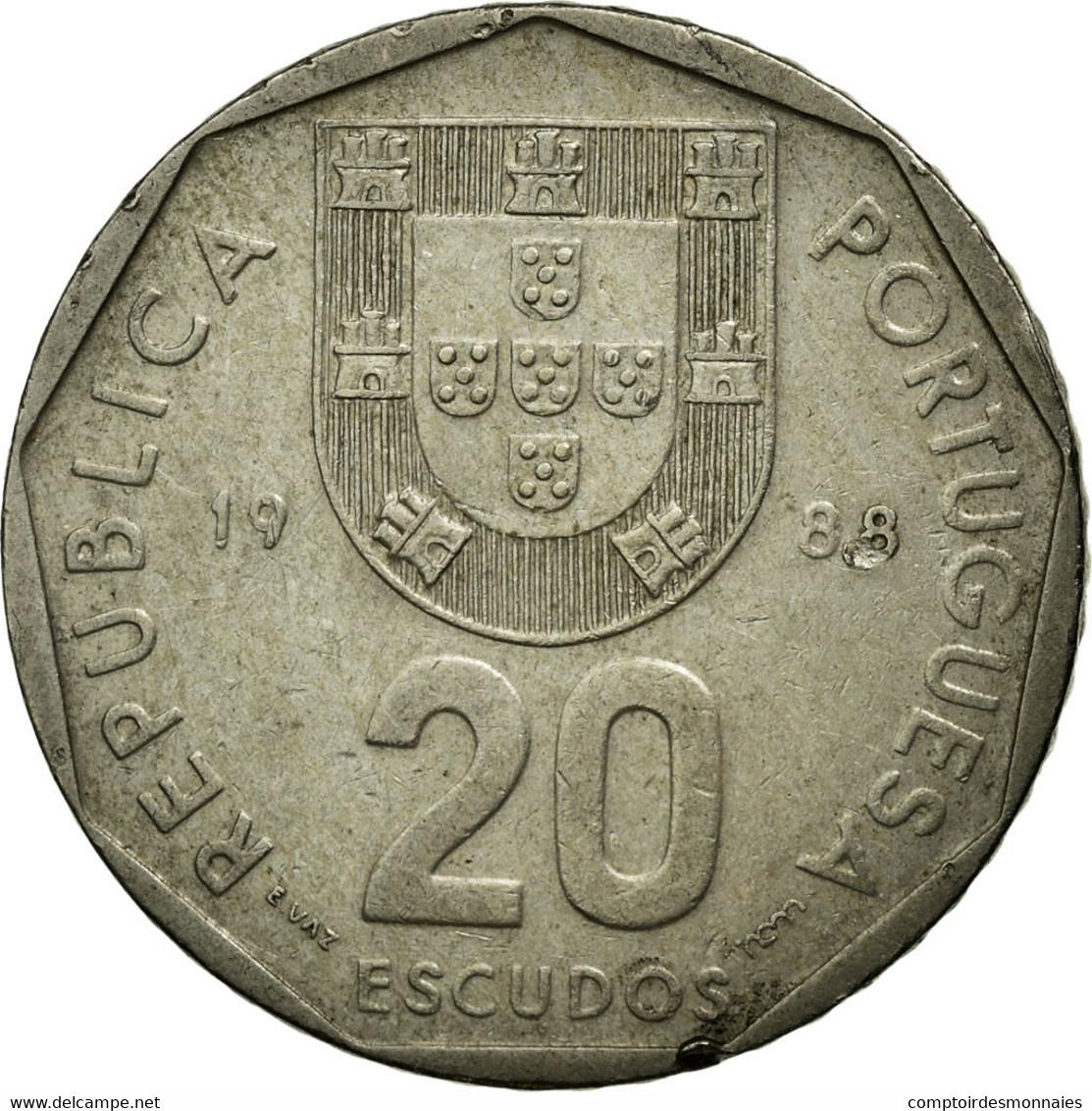 Monnaie, Portugal, 20 Escudos, 1988, Lisbonne, TB, Copper-nickel, KM:634.1 - Portugal