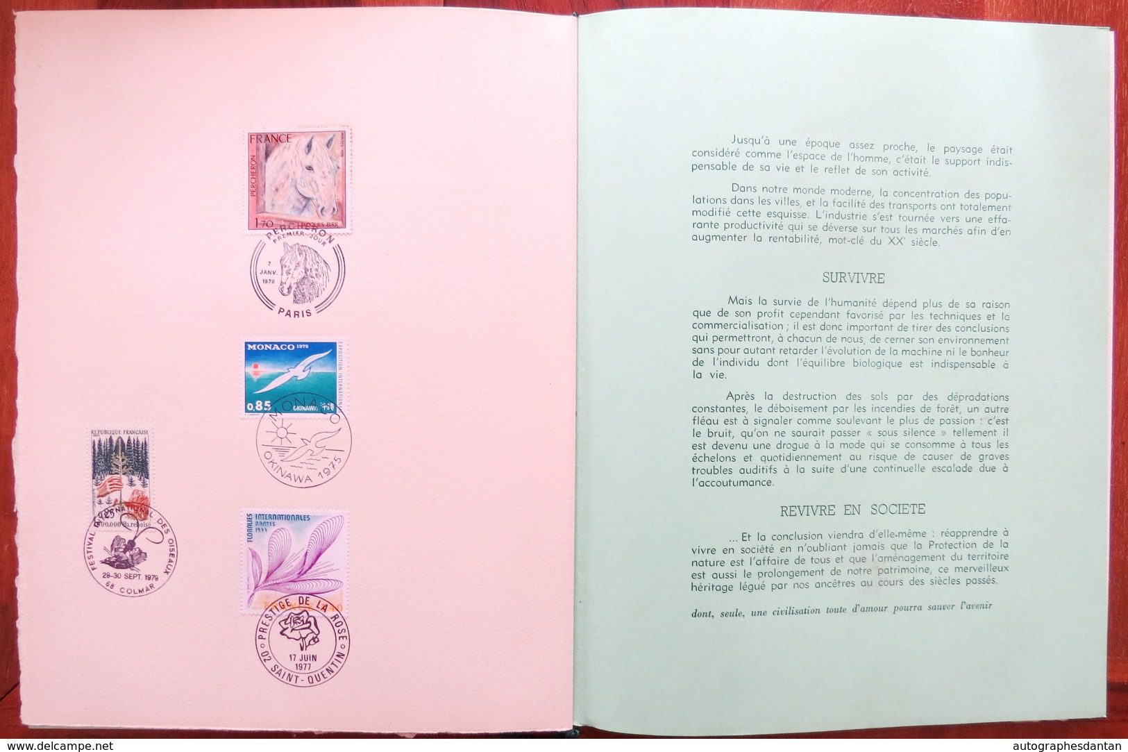 Edition Prestige Ex N°23/200 Plaquette Grand Velin D'Arches Philatélux - Protection Du Patrimoine De La Nature - Cachets - France