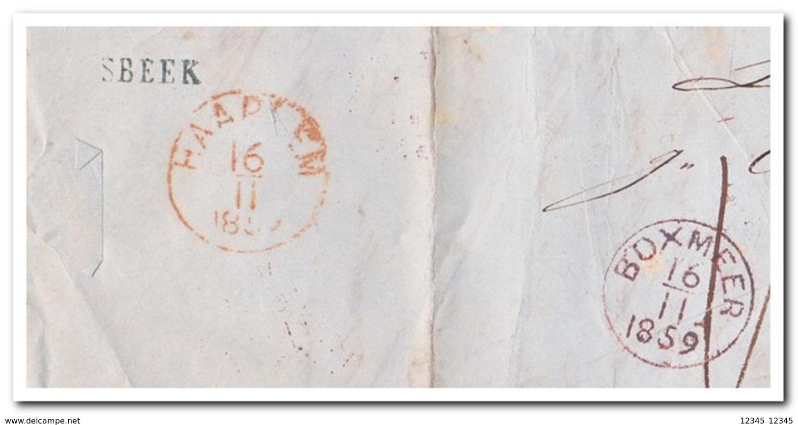 Brief Naar Haarlem, Afstempeling Boxmeer 16/11 1859, Vierlingsbeek En Haarlem 16/11 1859 ( 15 Nov 1859 ) - Brieven En Documenten