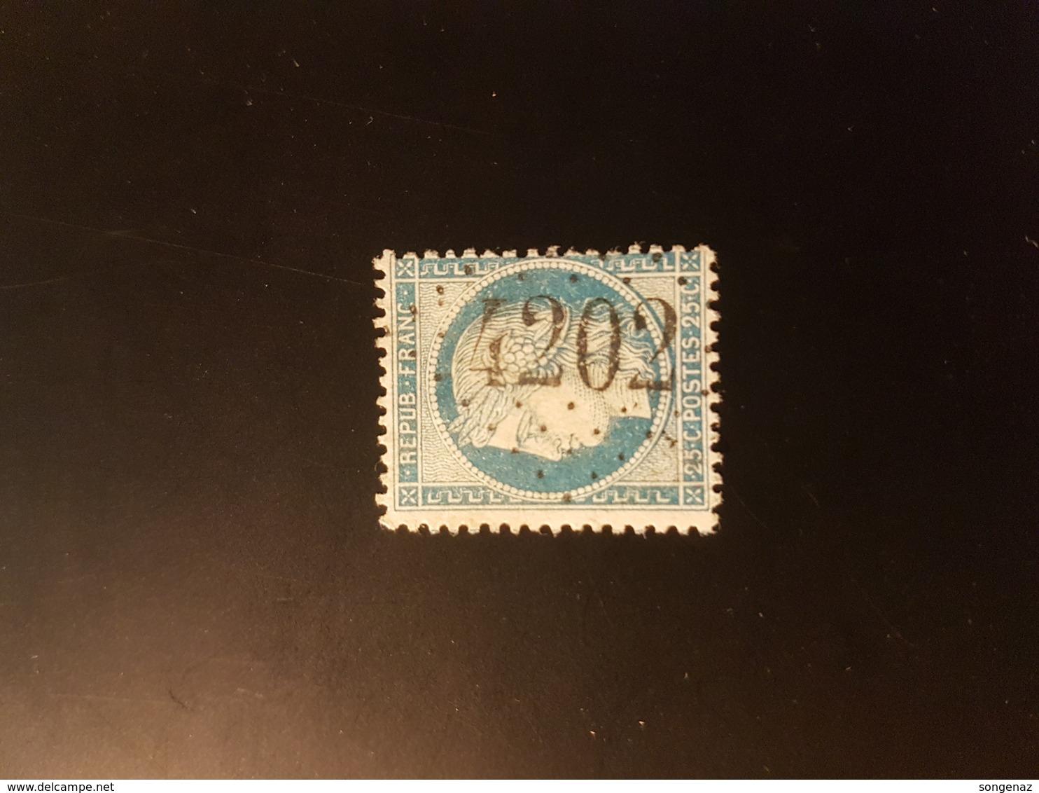 N°60A, 25 Cts Bleue, GC 4202, Miniac Morvan,  Ille Et Vilaine. - 1849-1876: Classic Period