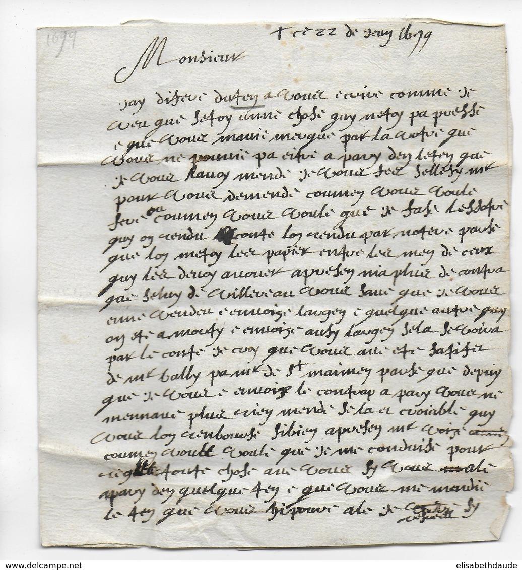 """1679 - LETTRE Avec CACHET De CIRE Et TAXE """"3"""" - Marcophilie (Lettres)"""