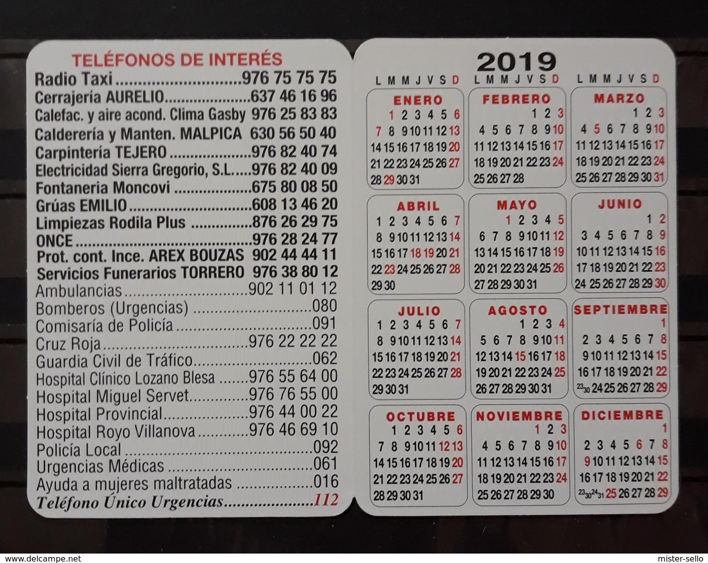 2019 CALENDARIO RADIO - TAXI ZARAGOZA - VIRGEN DEL PILAR. - Calendarios