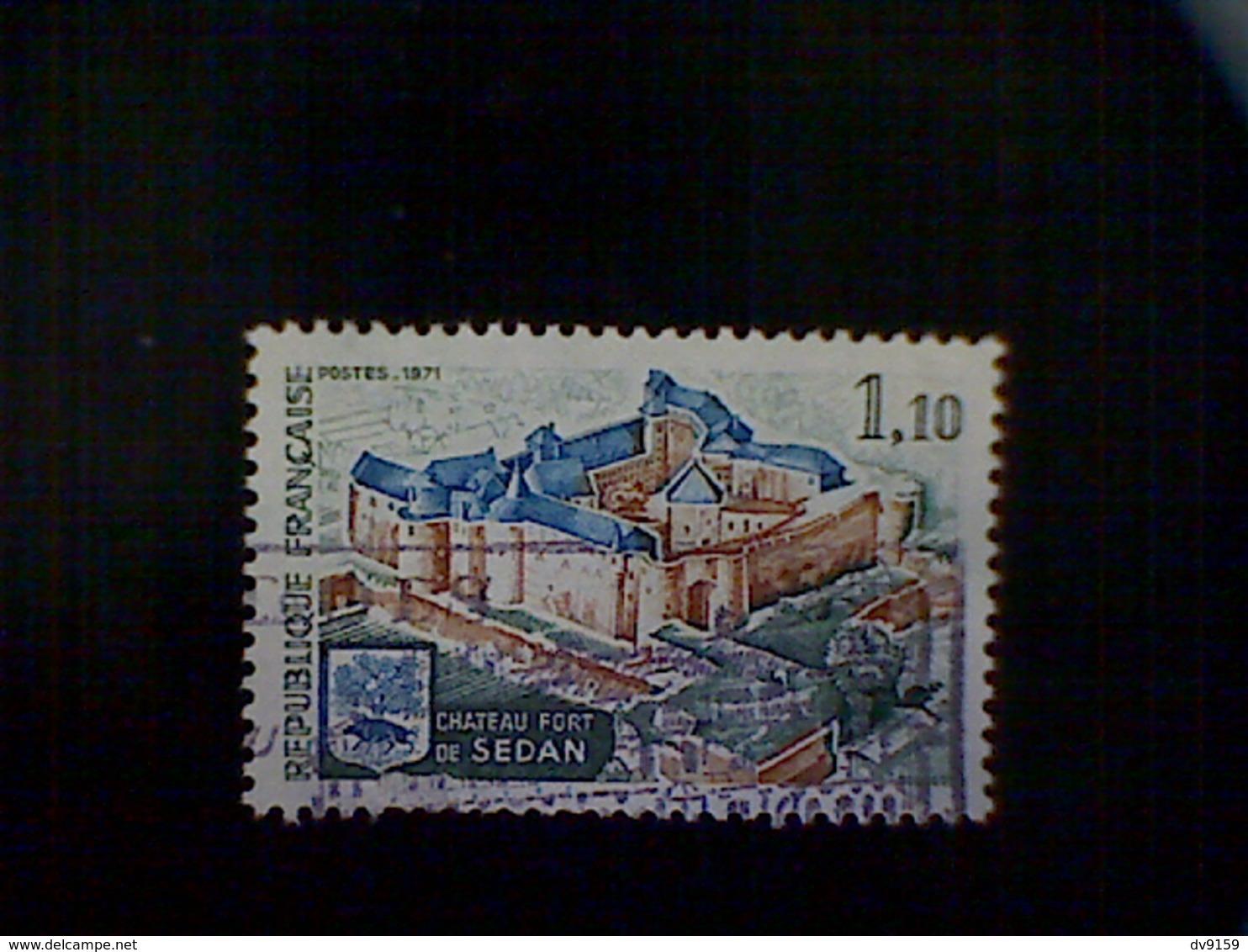 France, Scott #1313, Used(o), 1971, Chateau De Sedan, 1.10frs, Slate Green, Prussian Blue, And Brown - France