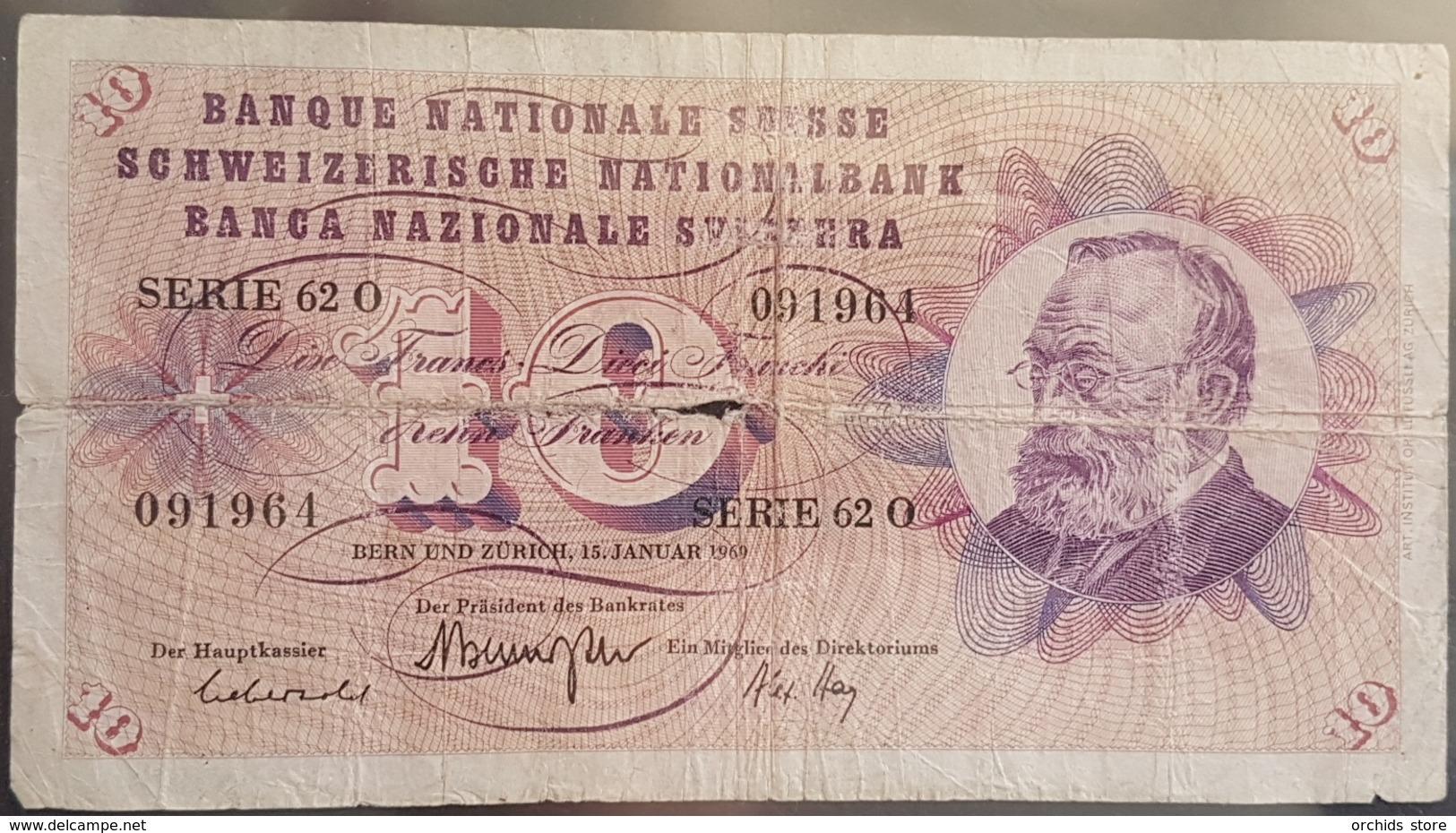 EBN6 Banknote - Switserland 10 Francs, 1969 P-45o - Switzerland