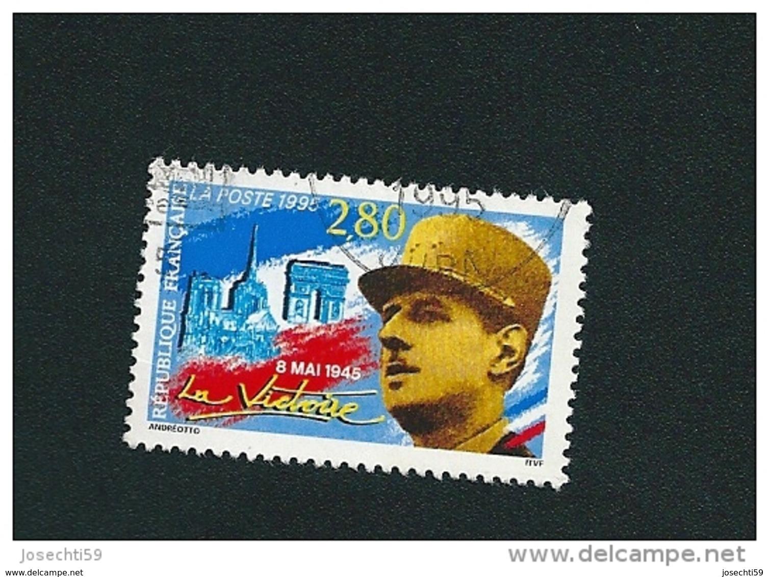 N° 2944 Général De Gaulle Et Monuments De Paris  Oblitéré Timbre FRANCE 1995 - France