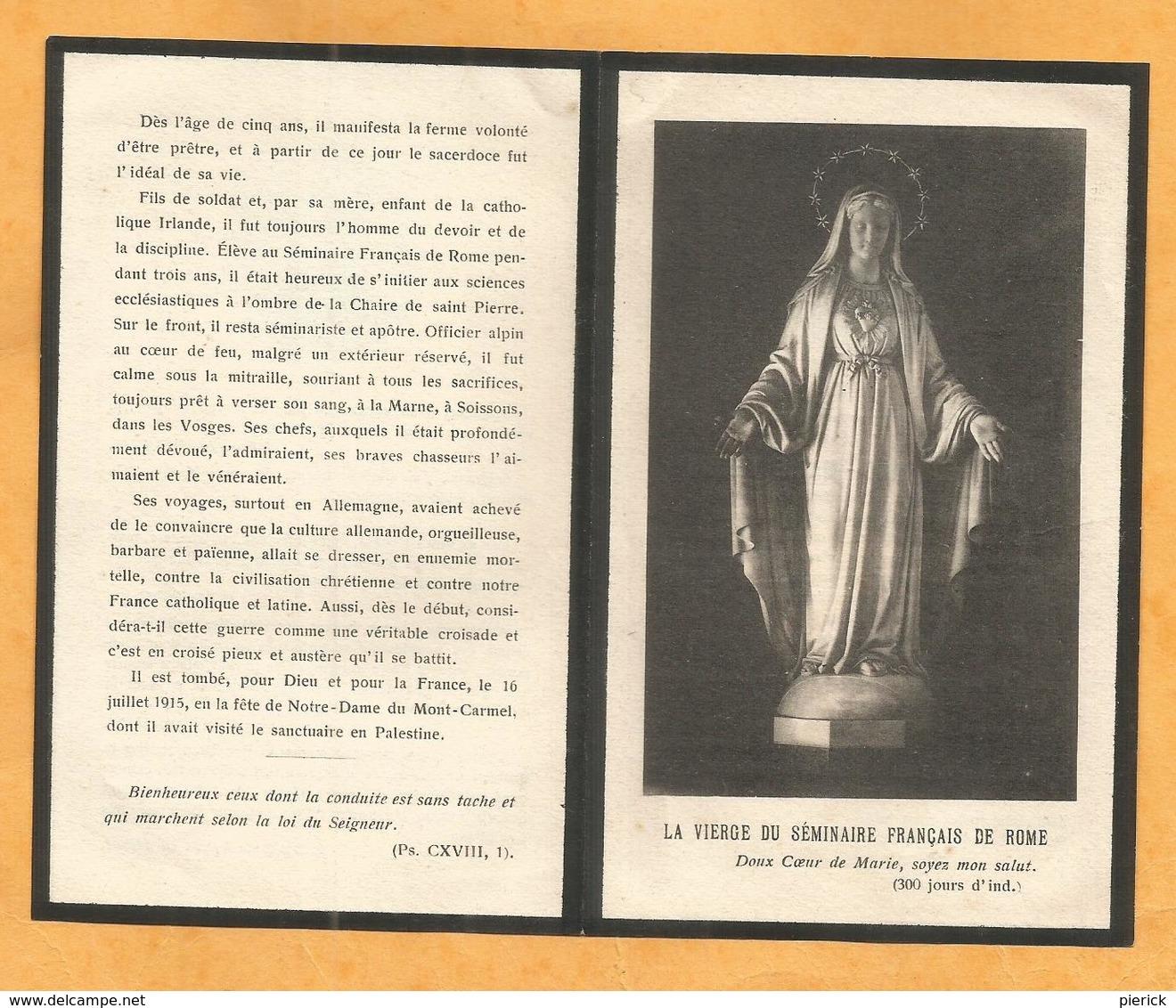FAIRE PART AVIS DECES MILITAIRE POILU LIEUTENANT 63 EME BATAILLON CHASSEURS ALPINS WWI  CLERC AVIGNON  1915 TERRIS - Documents