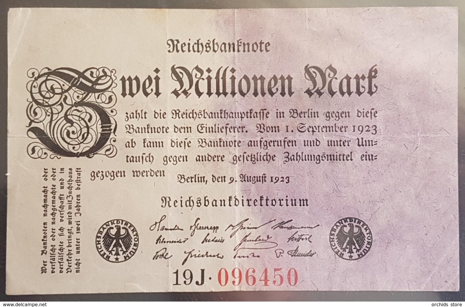 EBN6 - Germany 1923 Banknote 2 Millionen Mark Pick 103 #19J.096450 - [ 3] 1918-1933 : République De Weimar