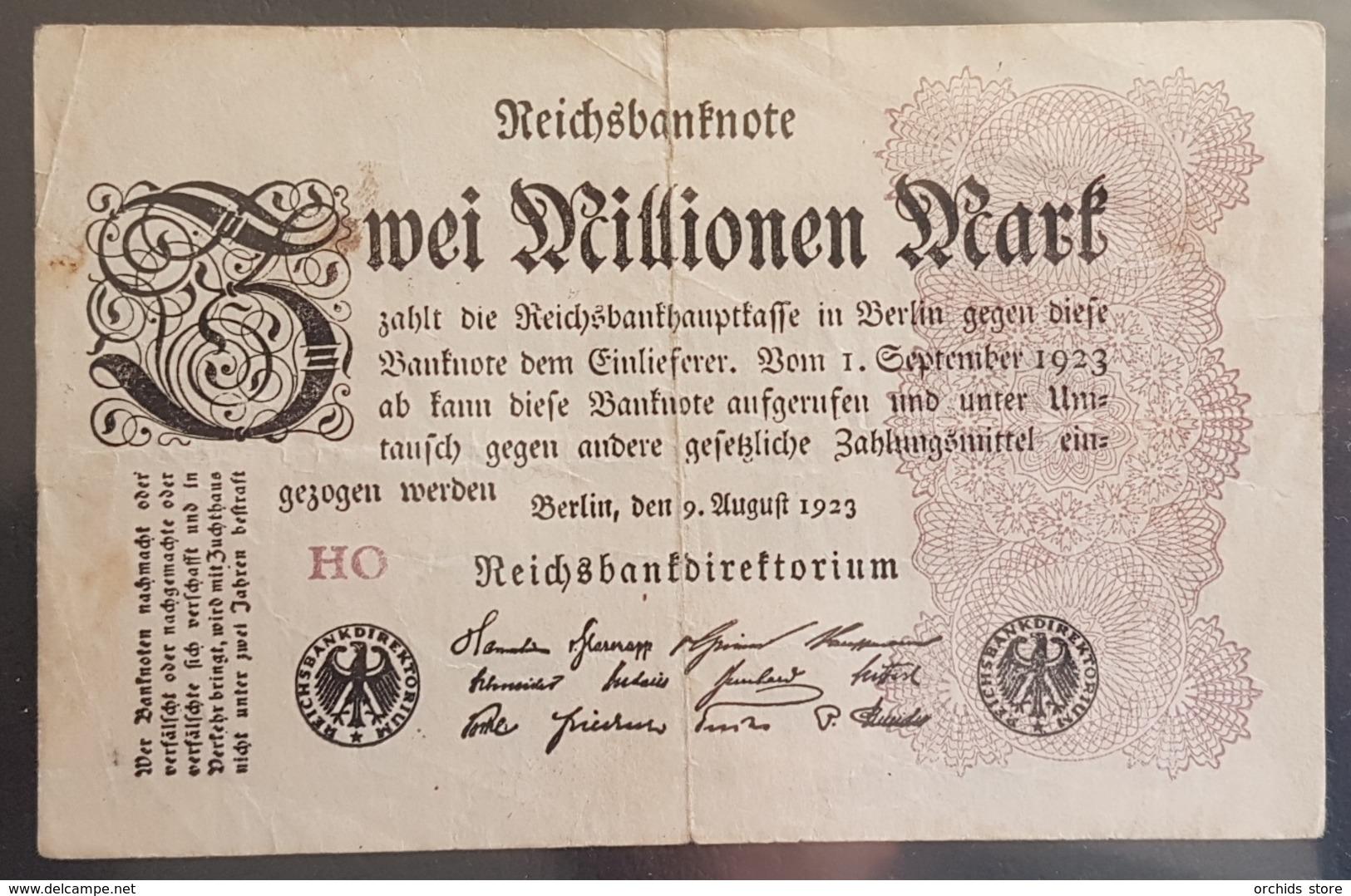 EBN6 - Germany 1923 Banknote 2 Millionen Mark Pick 104d #HO - 2 Millionen Mark
