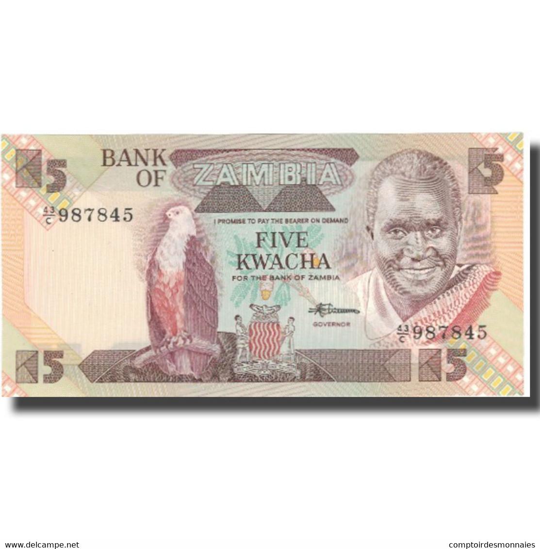 Billet, Zambie, 5 Kwacha, Undated (1980-88), KM:25d, NEUF - Zambie