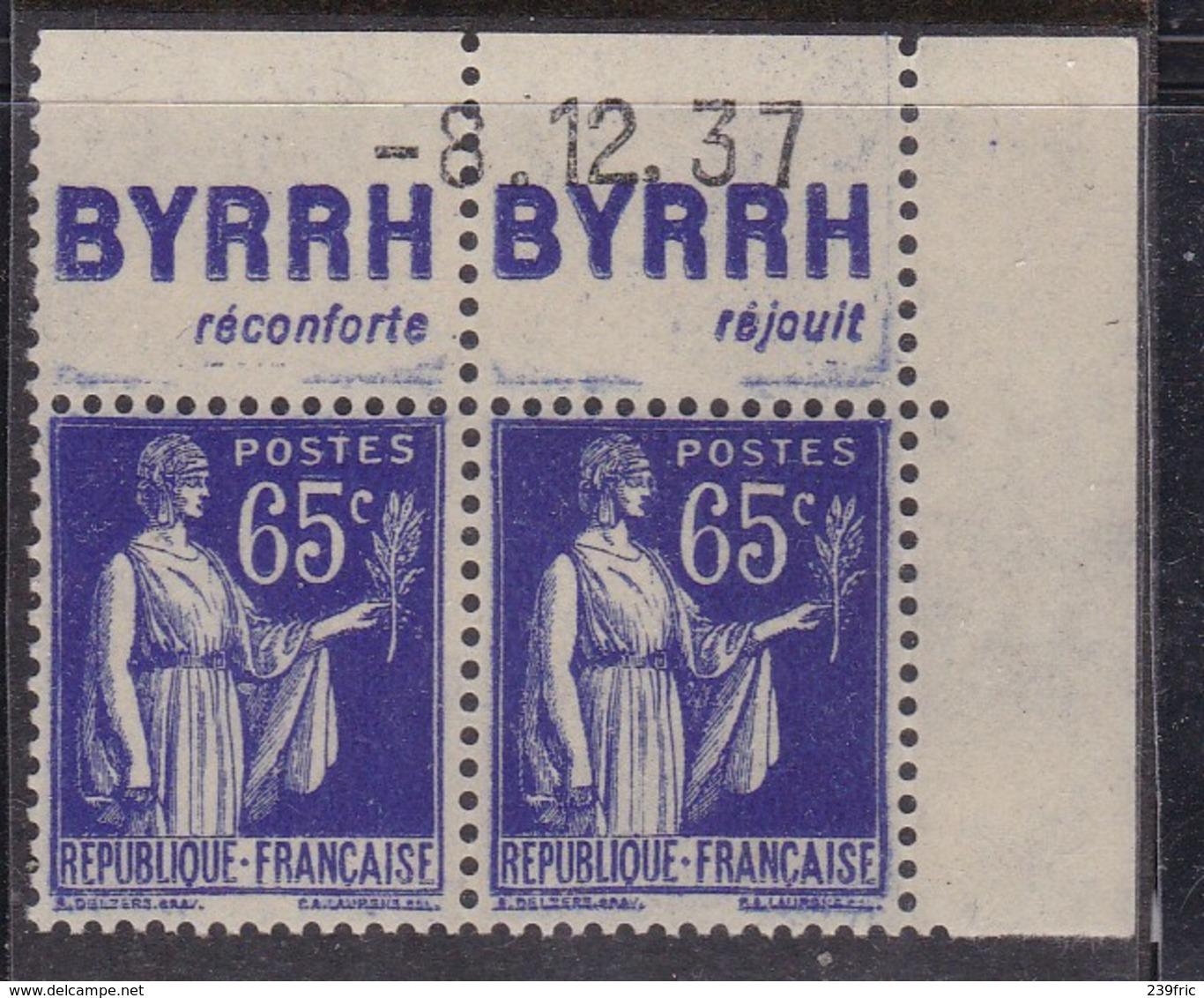 PUBLICITE: TYPE PAIX 65C BLEU PAIRE BYRRH-réconfrte Réjouit NEUF** ACCP976-977  C14E - Advertising