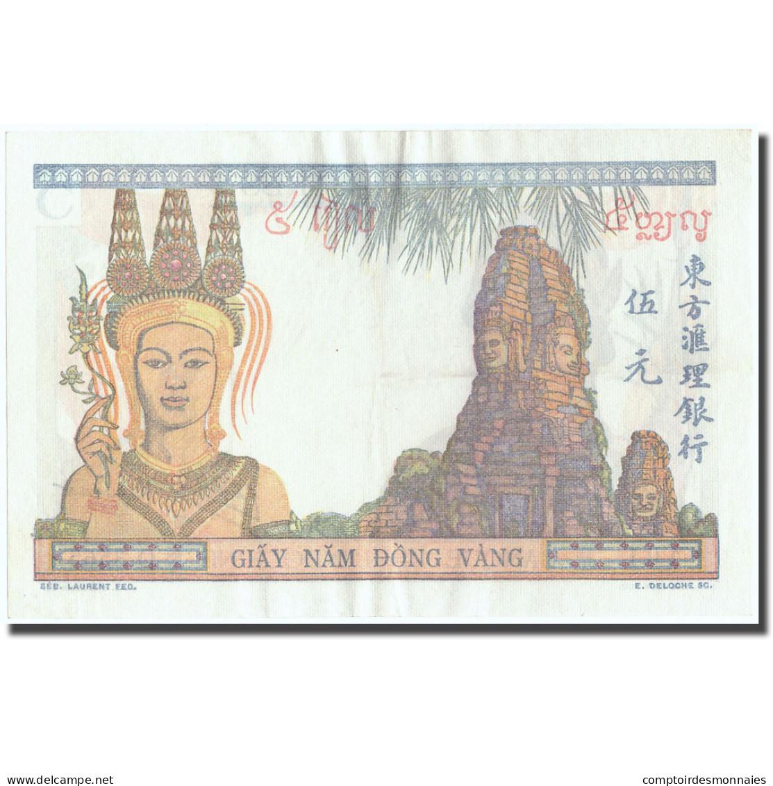 Billet, FRENCH INDO-CHINA, 5 Piastres, Undated (1937-1938), KM:55c, SPL - Indochine