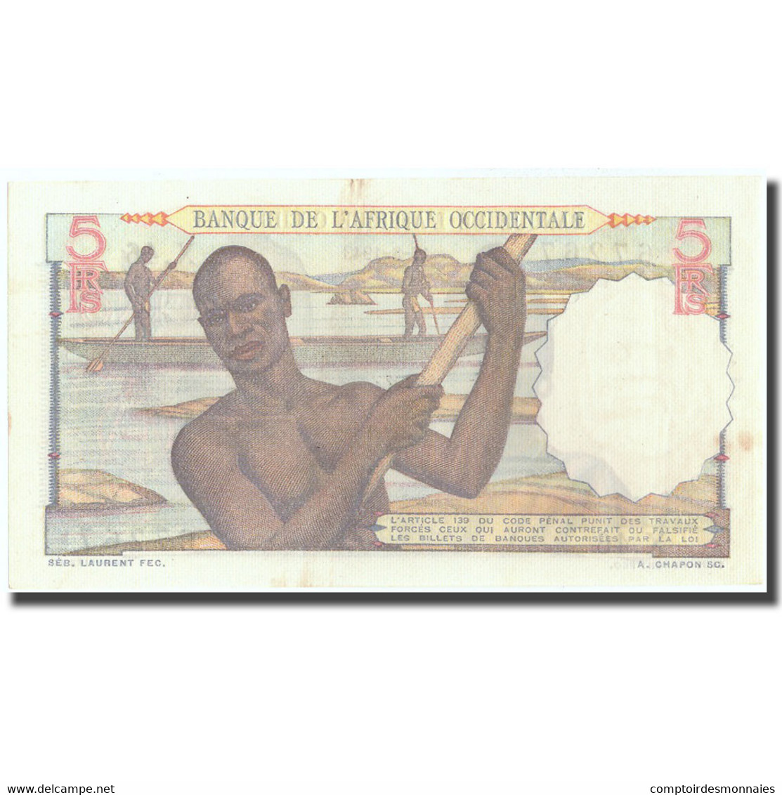 Billet, French West Africa, 5 Francs, 1943, 1943-08-17, KM:36, SPL - États D'Afrique De L'Ouest