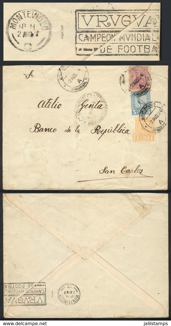TOPIC FOOTBALL/SOCCER: Cover Sent From Montevideo To San Carlos On 2/AU/1924, With Rare Slogan Cancel On Back: URUGUAY - - Non Classés
