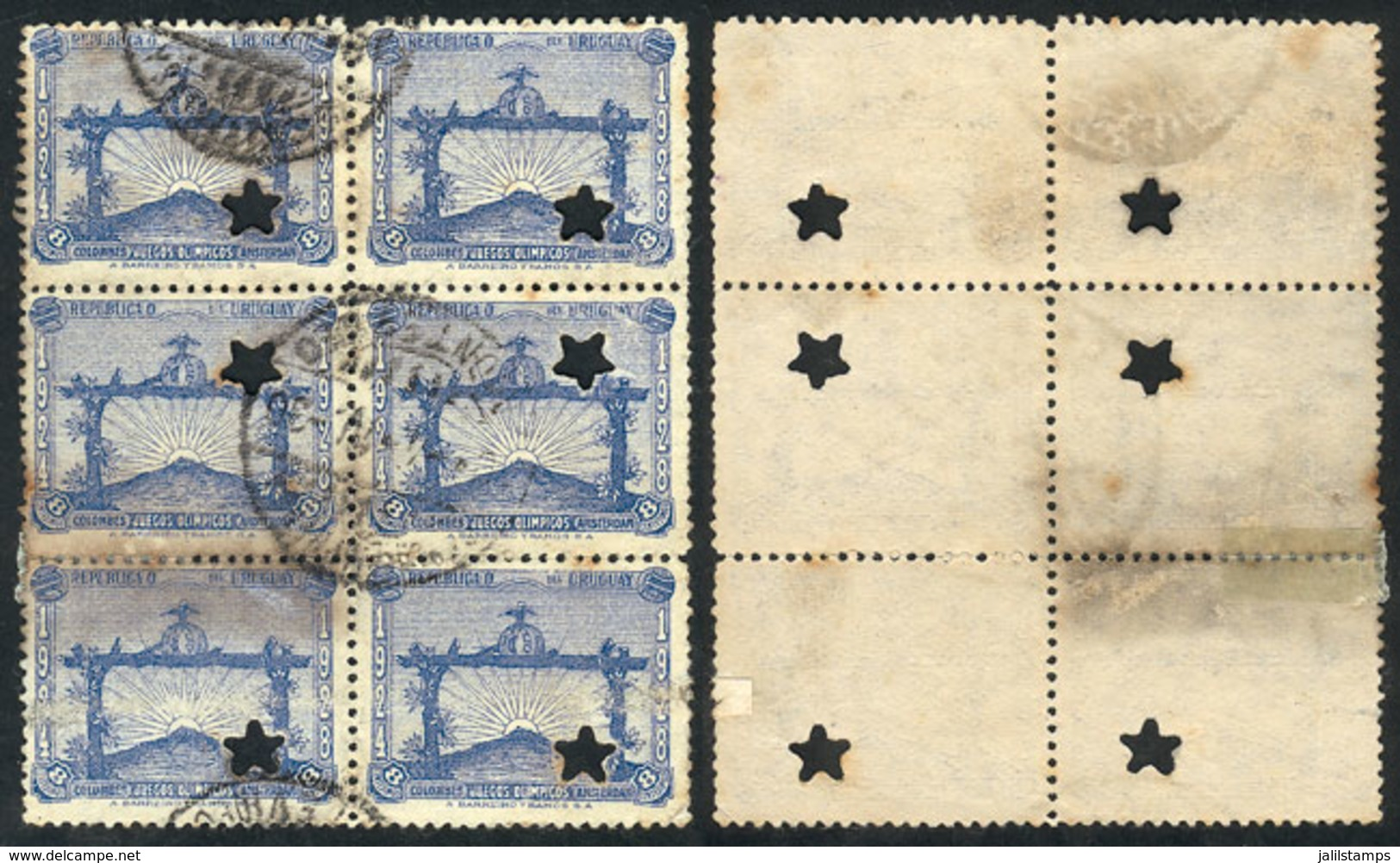TOPIC FOOTBALL/SOCCER: Sc.390, 1928 8c. Olympic Football Winners, Block Of 6 With Punch Hole For Official Use (star), Wi - Football