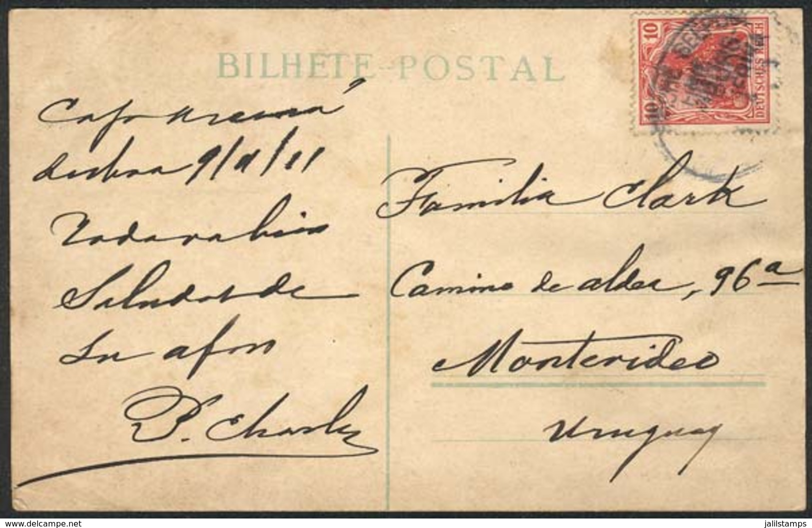 GERMANY: Postcard (view Of Lisboa, Liberdade Avenue) Sent From Ship CAP ARCONA At Sea To Montevideo On 9/AP/1911 With Ge - Allemagne