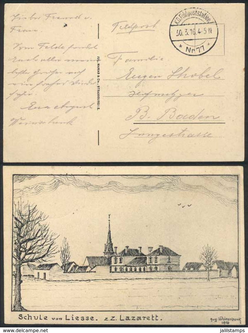 GERMANY: Postcard With View: Schule Von Liesse. Z.Z. Lazarett, Used Stampless With Feldpost Postmark Of 30/MAR/1916, VF  - Allemagne