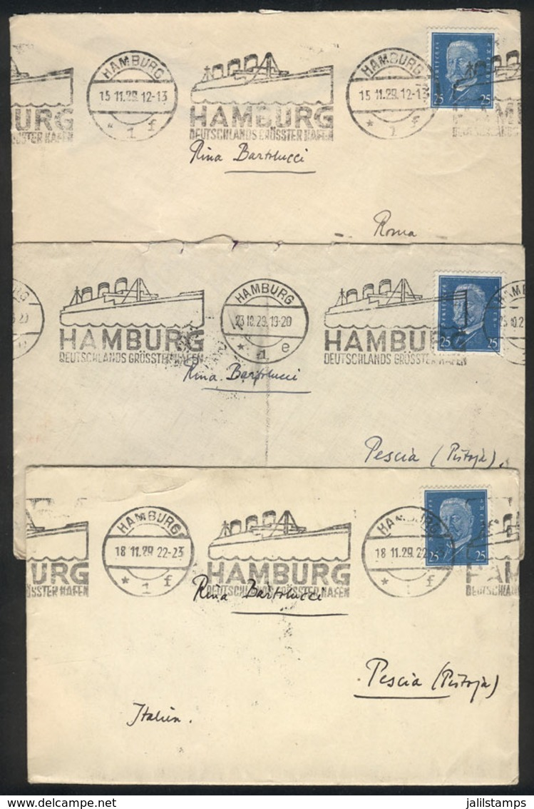 GERMANY: 3 Covers Sent From Hamburg To Italy In 1929, All Franked With 25Pf. And Nice Advertising Cancel Of The Port Of  - Allemagne