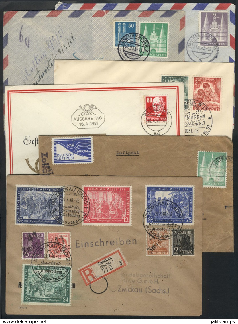 GERMANY: Lot Of 6 Interesting Covers, Some FDCs Other Other Covers Sent To Argentina, 1946/1953, VF General Quality, Goo - Allemagne