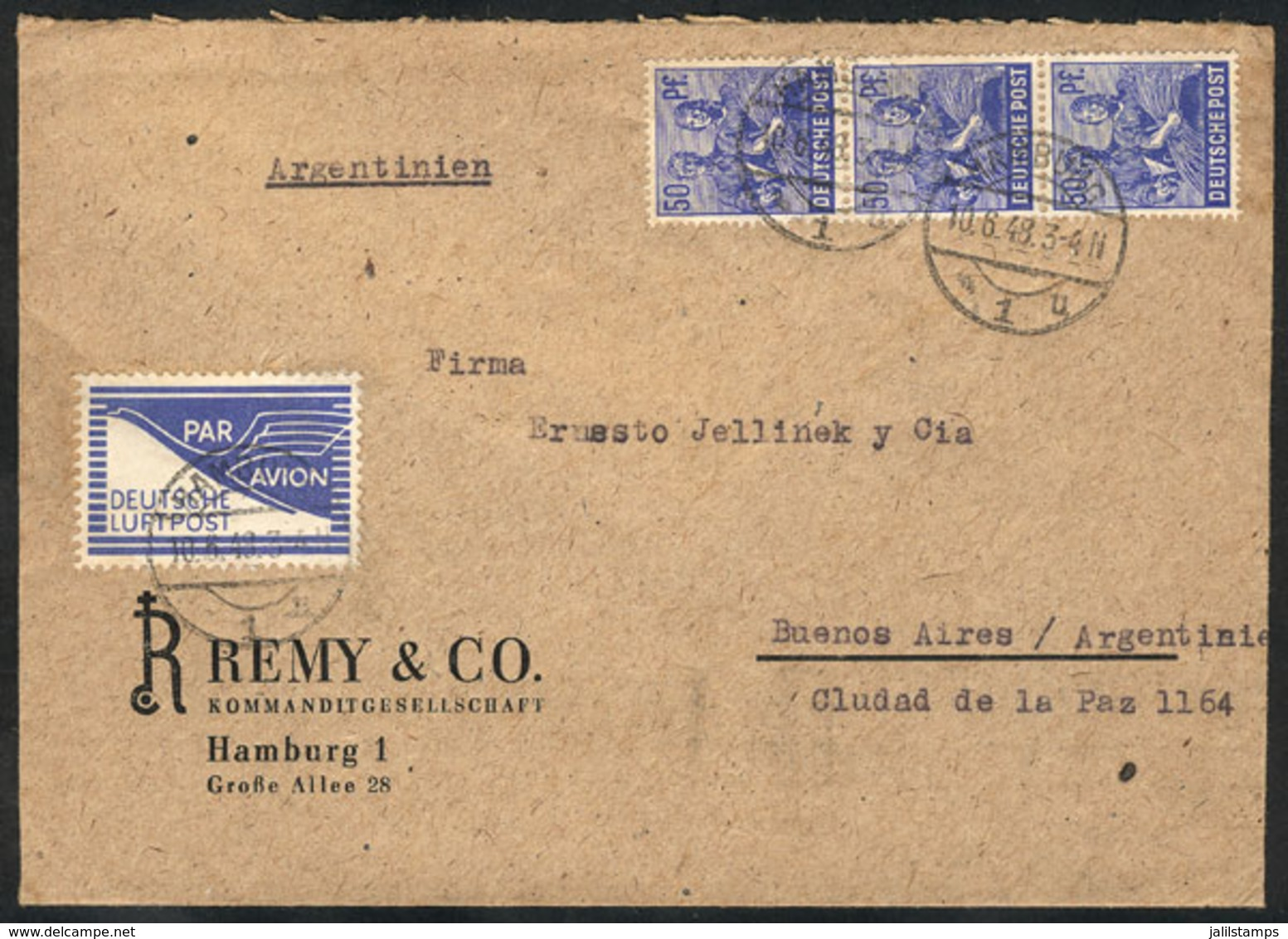 GERMANY: Airmail Cover Sent From Hamburg To Argentina On 10/JUN/1948 Franked With 150Pg., With A Special Airmail Label P - Allemagne