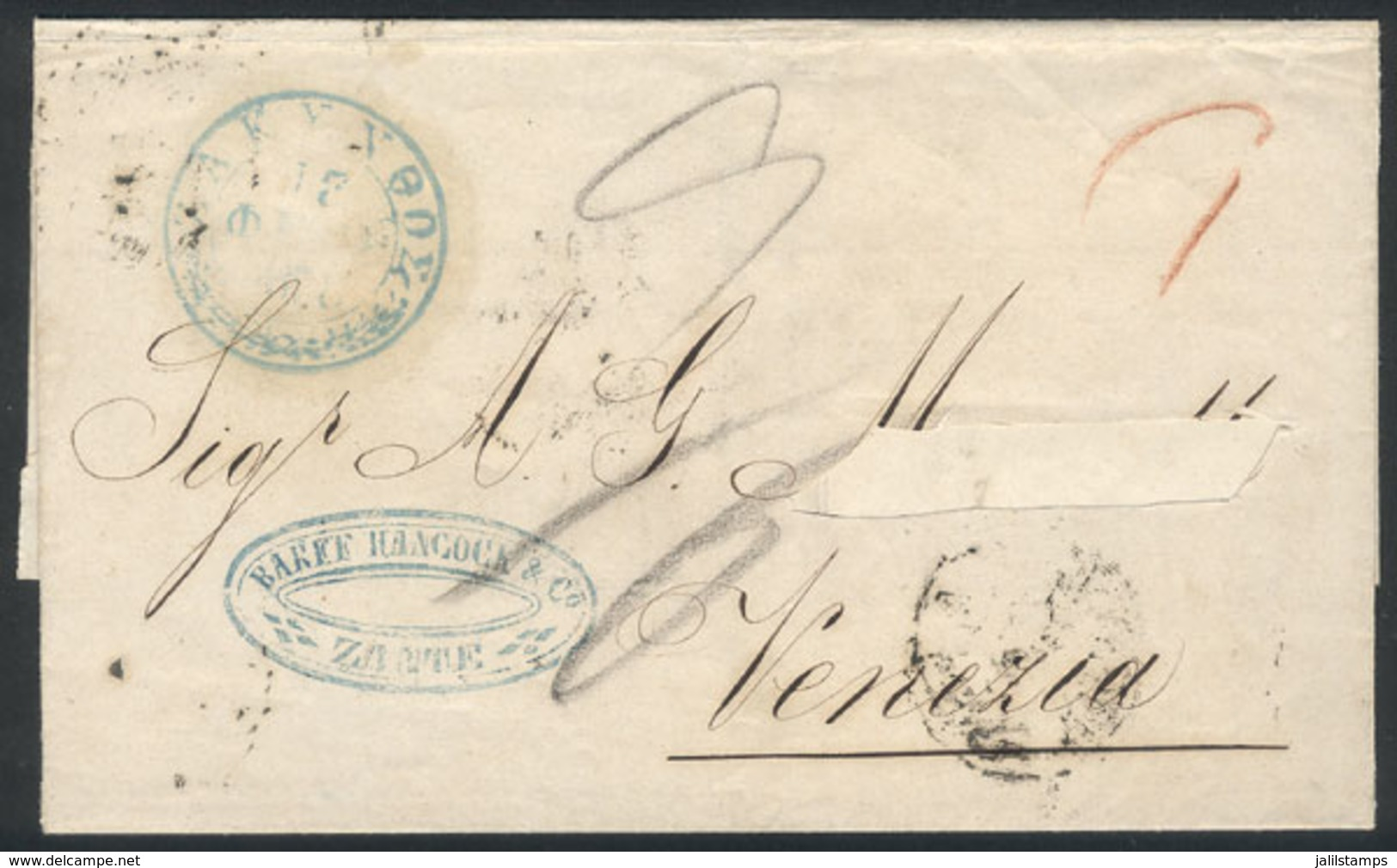 GREECE: 13/FE/1858 ZANTE - Venezia: Dated Folded Cover (surname Of The Addressee Was Cut Out), With Blue Datestamp Of Or - Greece