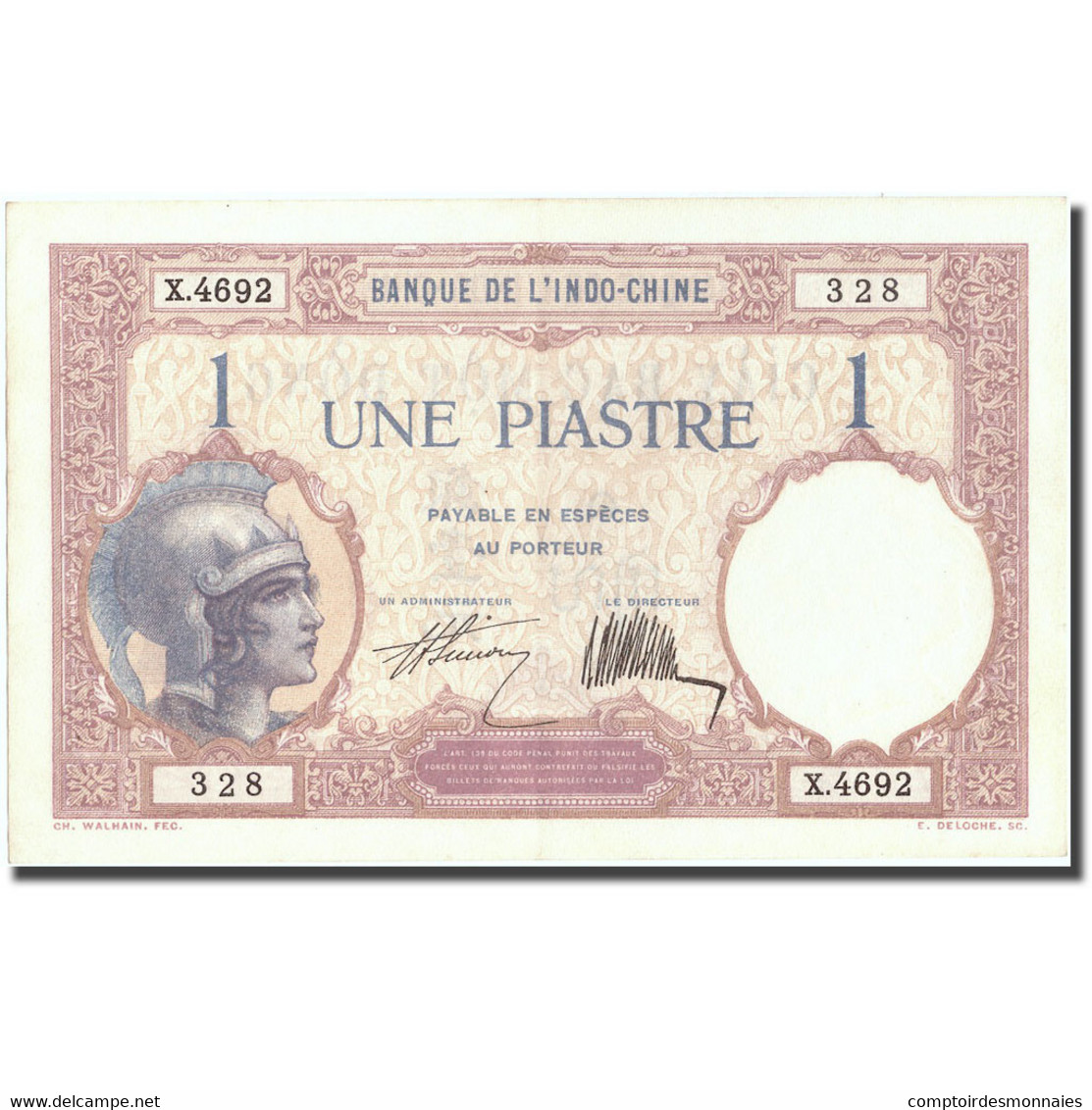 Billet, FRENCH INDO-CHINA, 1 Piastre, Undated (1921-1931), KM:48b, SPL - Indochine