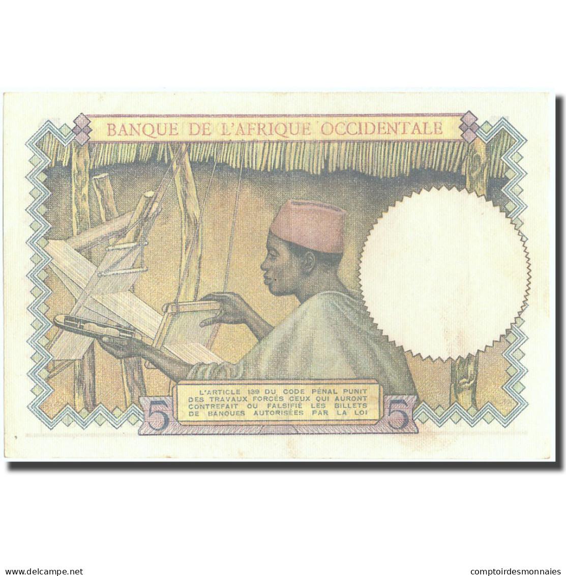 Billet, French West Africa, 5 Francs, 1937, 1937-08-12, KM:21, SPL+ - États D'Afrique De L'Ouest