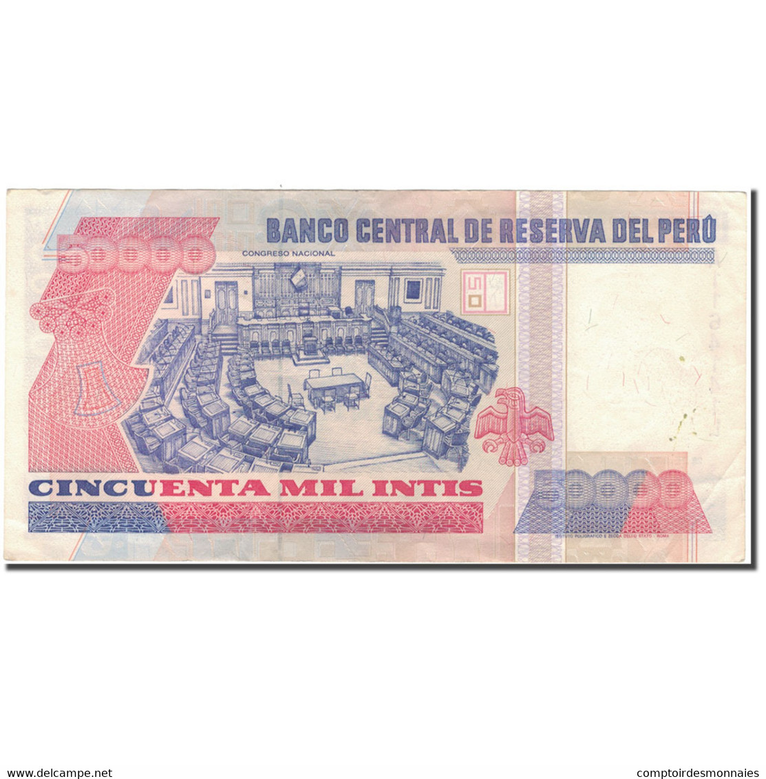 Billet, Pérou, 50,000 Intis, 1988-06-28, KM:142, TTB+ - Pérou