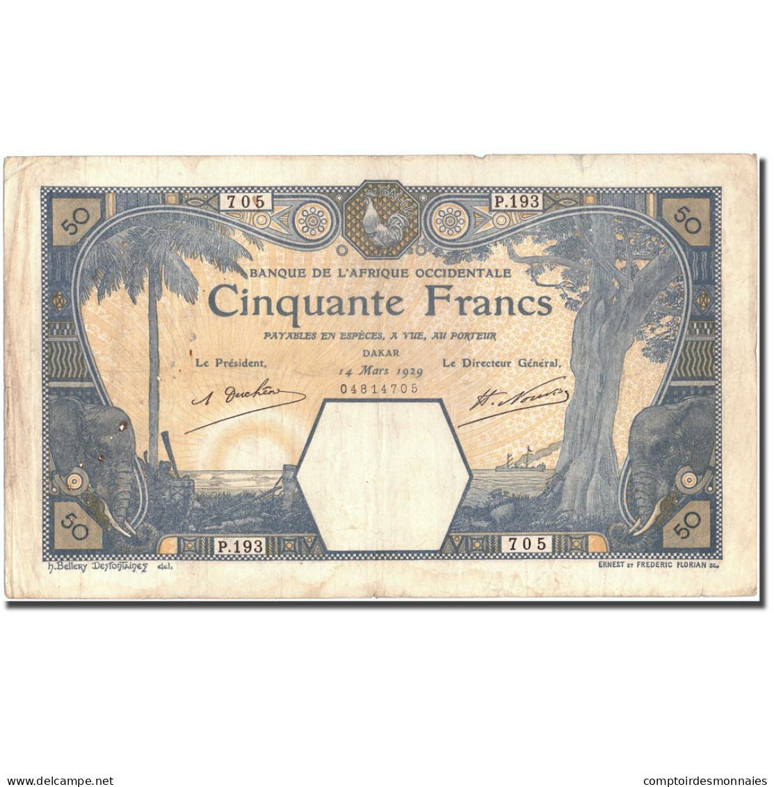 Billet, French West Africa, 50 Francs, 1929, 1929-03-14, KM:9Bc, TTB - États D'Afrique De L'Ouest