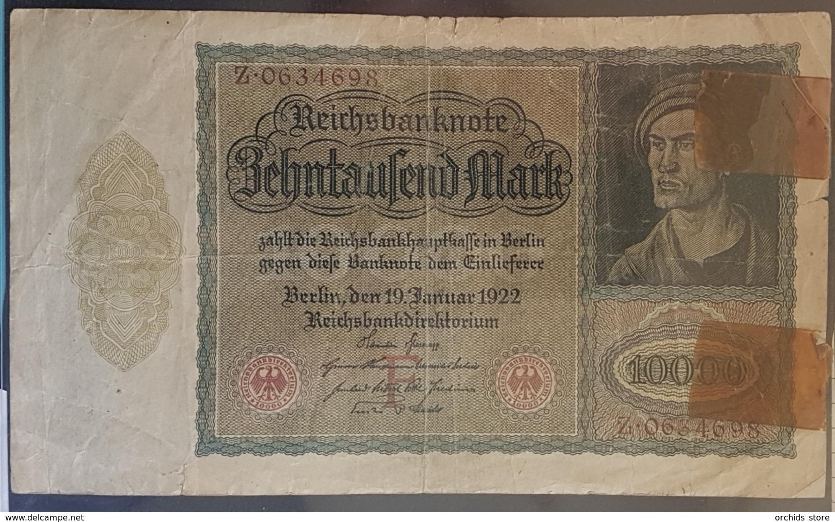 EBN7 - Germany 1922 Banknote 10000 Mark Pick 70 #Z.0634698 - 10000 Mark