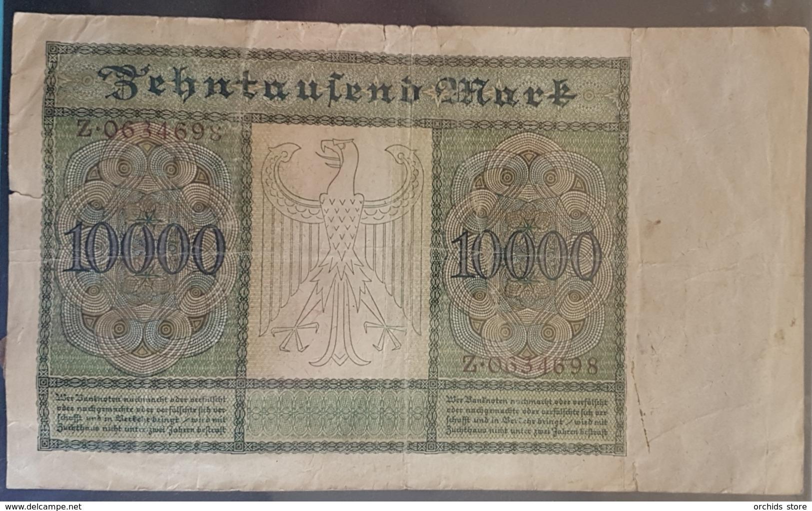 EBN7 - Germany 1922 Banknote 10000 Mark Pick 70 #Z.0634698 - [ 3] 1918-1933: Weimarrepubliek