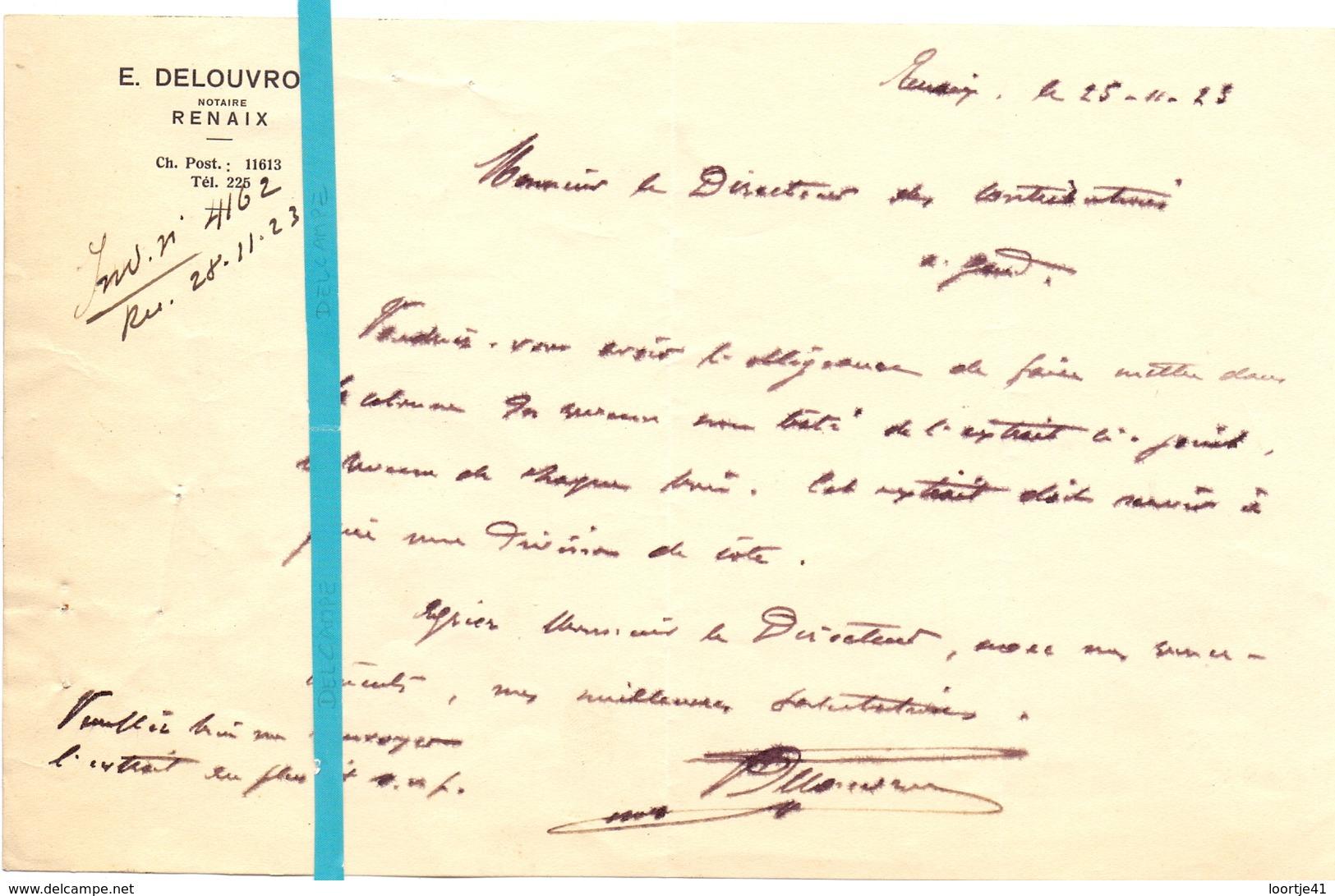 Brief Lettre - Notaire Delouvroy  Renaix Ronse - Naar Kadaster 1923  + Brief Met Antwoord - Sin Clasificación