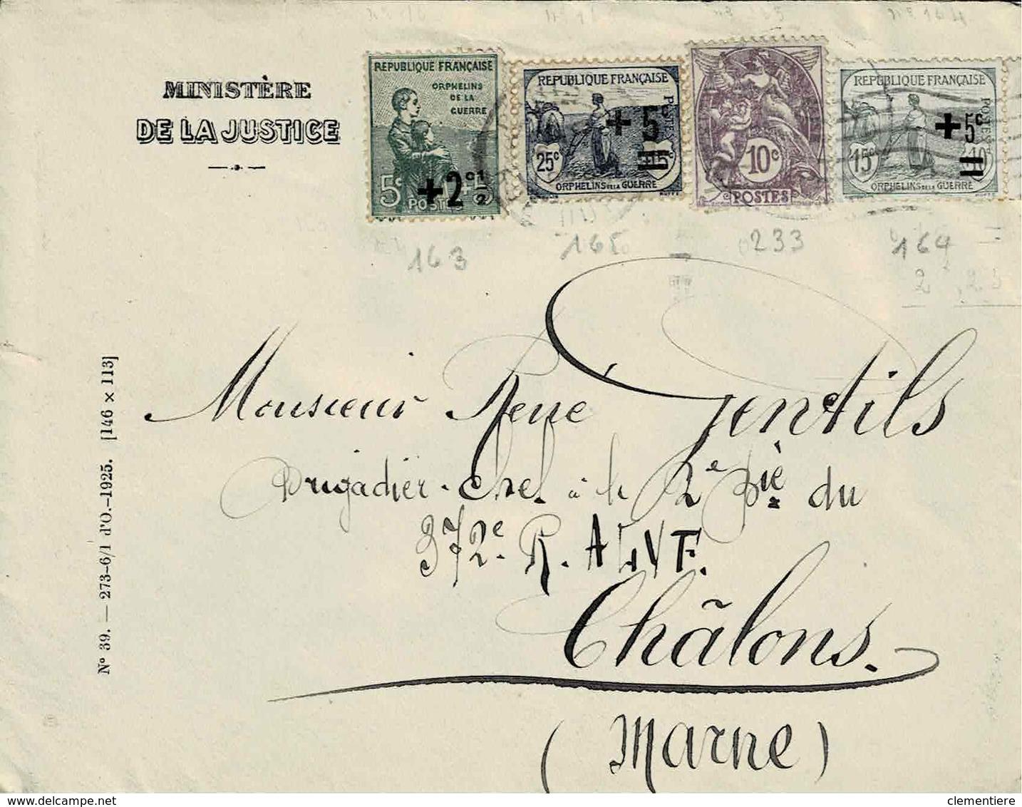 TP N° 163/165 Et 233 Sur Enveloppe Du Ministère De La Justice Pour Chatons Sur Marne - 1877-1920: Période Semi Moderne