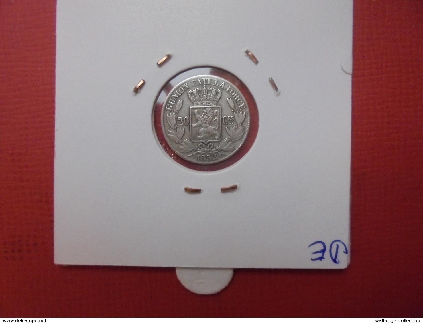 Léopold 1er. 20 Centimes 1852 (L.W.) JOLIE QUALITE - 05. 20 Centimes