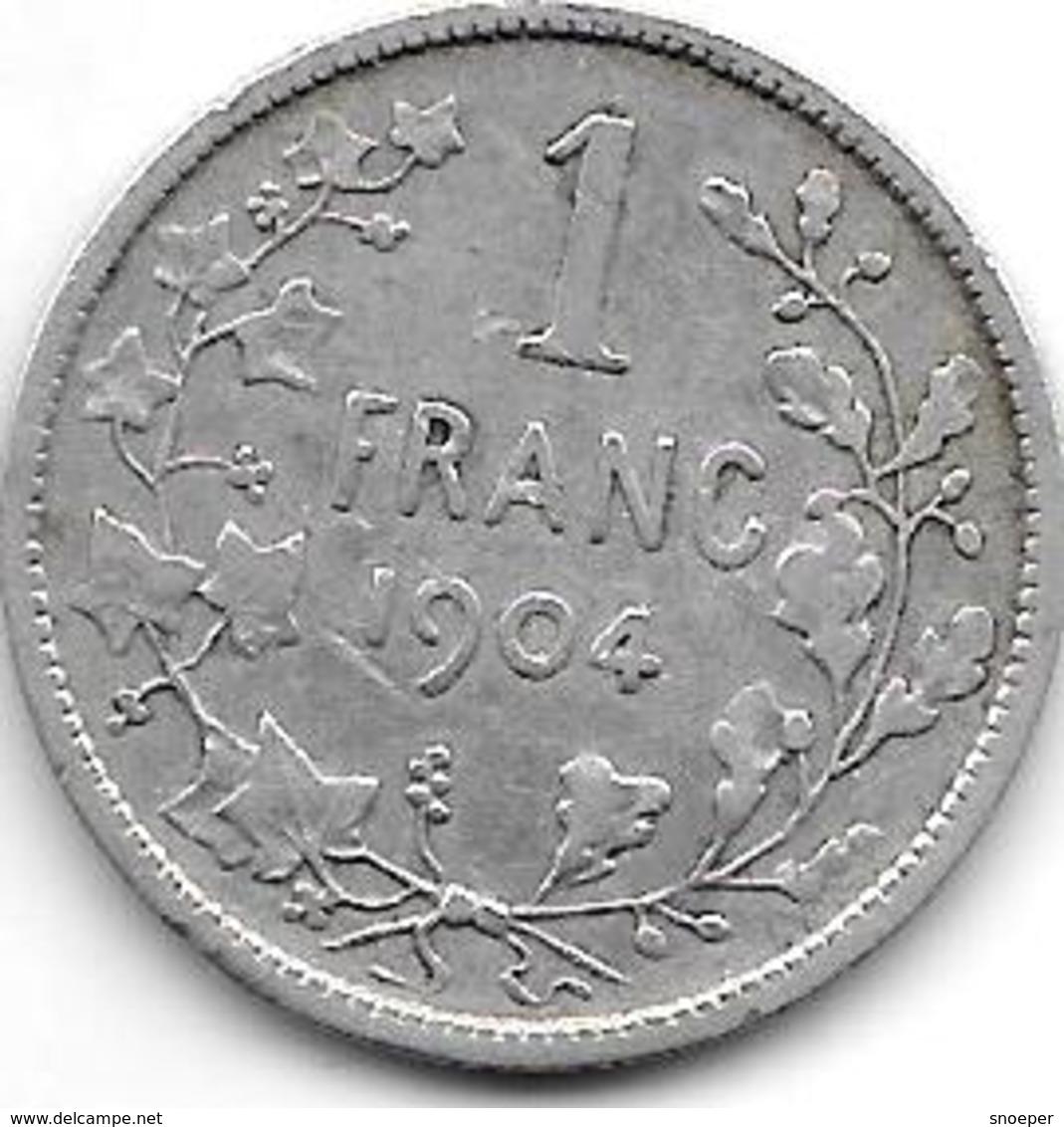 *belguim 1 Franc  Leopold II  1904 French  Fr+ - 1865-1909: Leopold II