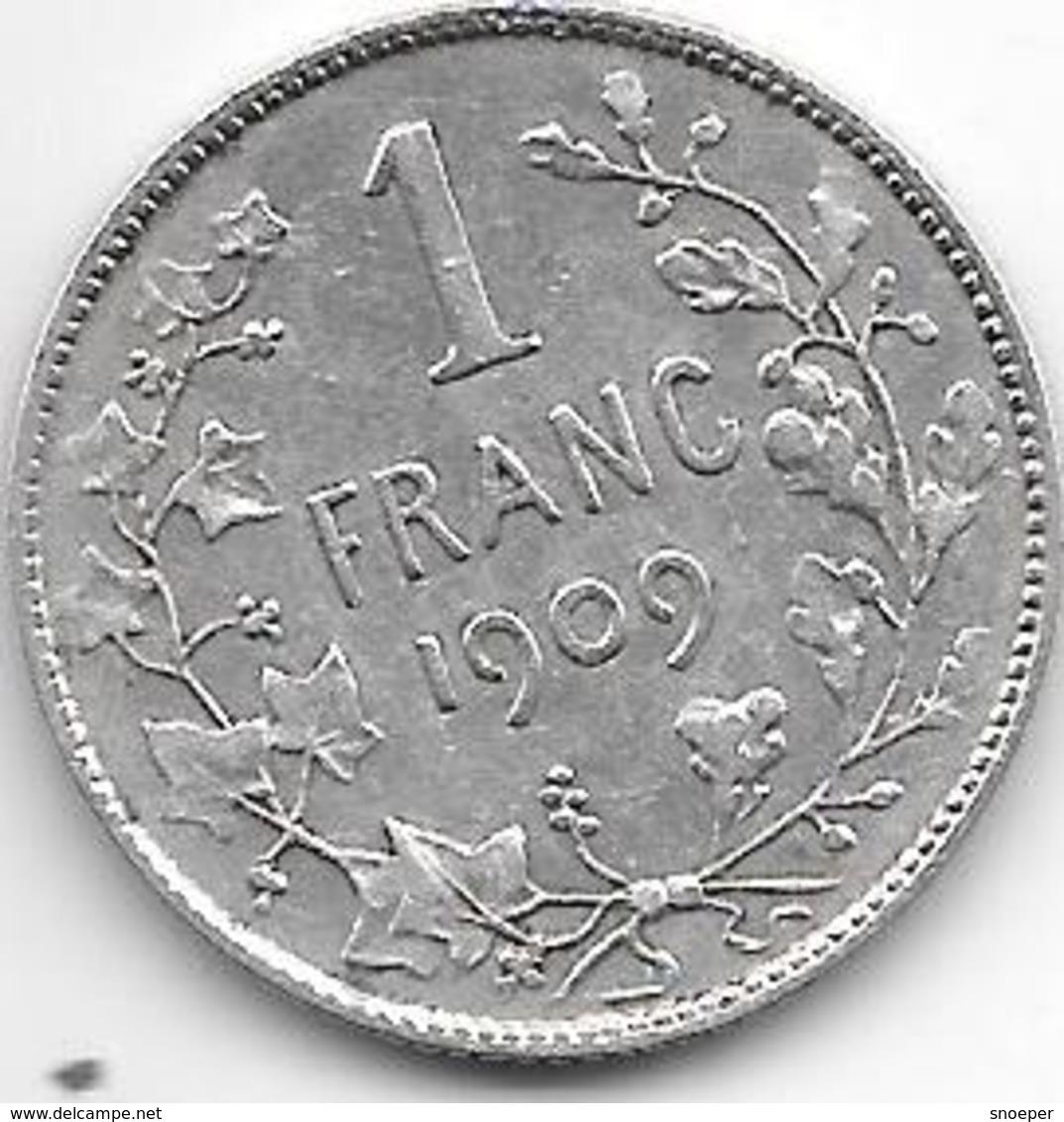 *belguim 1 Franc  Leopold II  1909 French  TH Zonder Punt(no Point) Vf - 07. 1 Franc